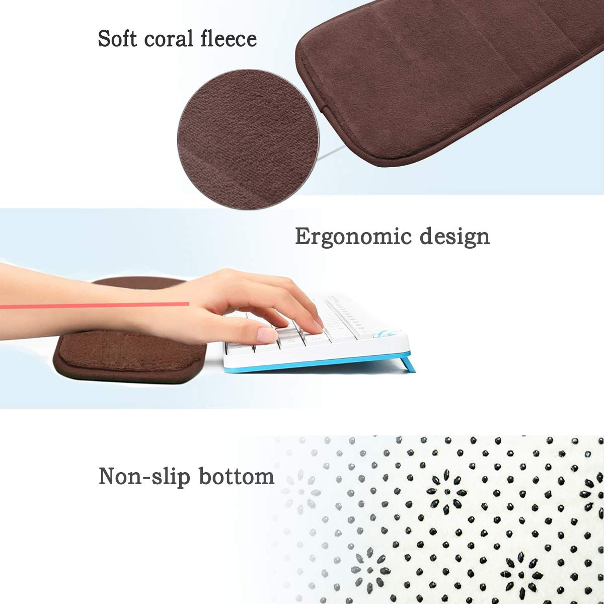 Keyboard Wrist Elbow Support Mat for Office Desktop Working Gaming 7.9 x 31.5 inch Purple Soft, Long-Sized Less Elbow Pain 2Pcs Computer Wrist Elbow Pad Creatiee Upgraded Wrist Rest Arm Pad