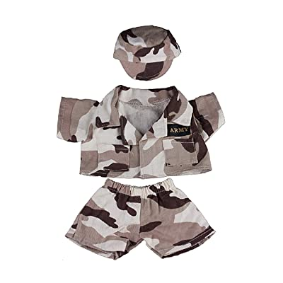 "Army ""Desert"" Outfit with Badge Fits Most 8""-10"" Webkinz, Shining Star and 8""-10"" Make Your Own Stuffed Animals and Build-A-Bear by Teddy Mountain: Toys & Games"
