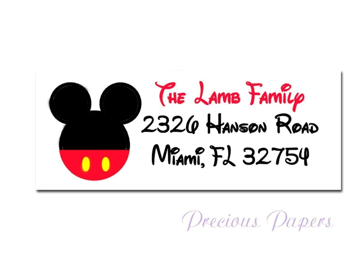 Mouse address labels Personalized, Printed and shipped set of 30