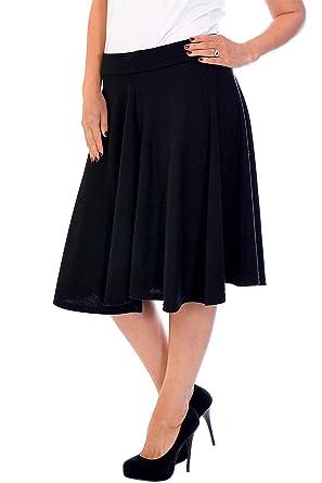 703d7c70356 Nouvelle Womens Plus Size Nouvelle Plain Flared Skater Skirt Sizes ...