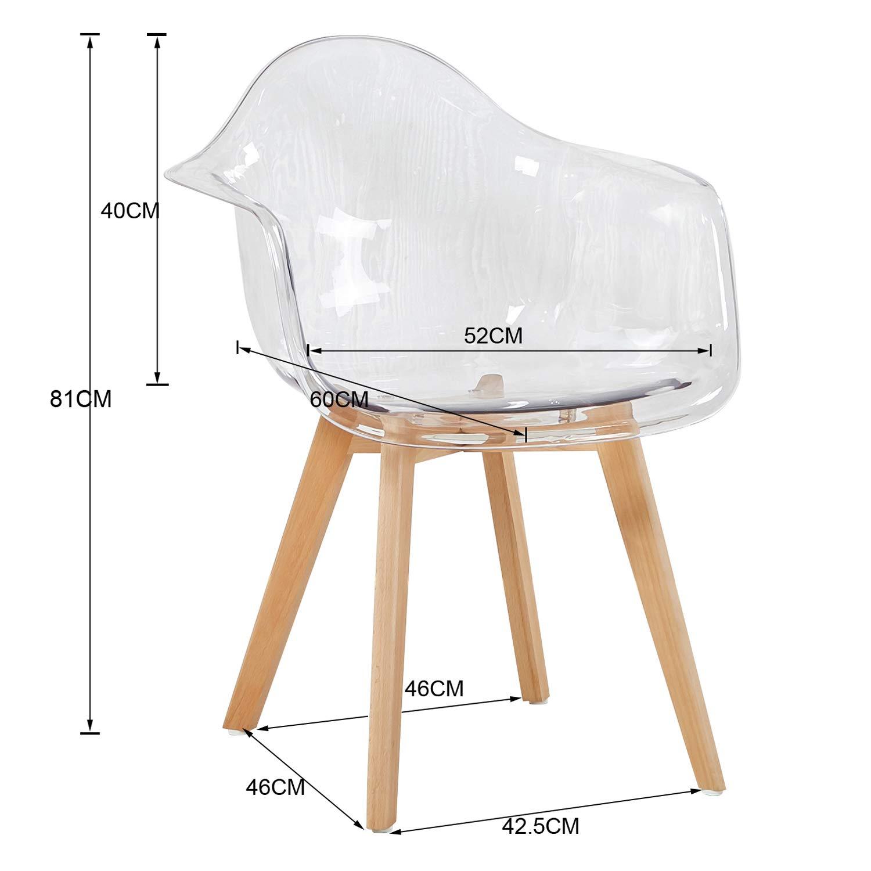 Eggree 2er set transparent sessel skandinavisch esszimmerstuhl modern wohnzimmer ebay - Esszimmerstuhl skandinavisch ...