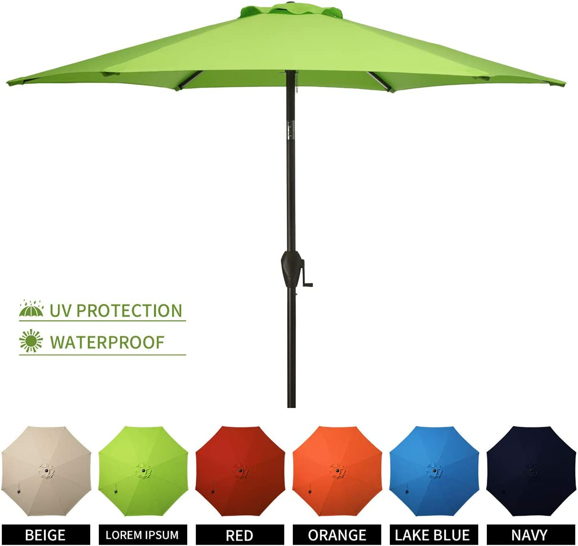 MUCHENGHY 10ft Patio Table Umbrellas UV Protection Large Outdoor Umbrella Sunbrella Wind Resistant