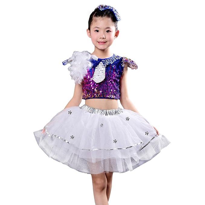 06ec21745c3f Amazon.com  Children Girls Sequins Jazz Dancing Dress Stage ...