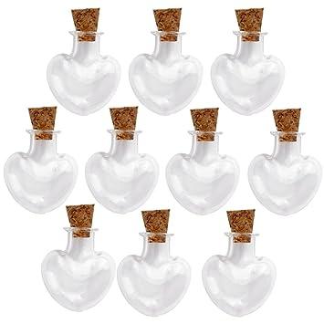 Xiton Mini tarros de cristal botellas de deseos viales con tapones de corcho para bodas 10