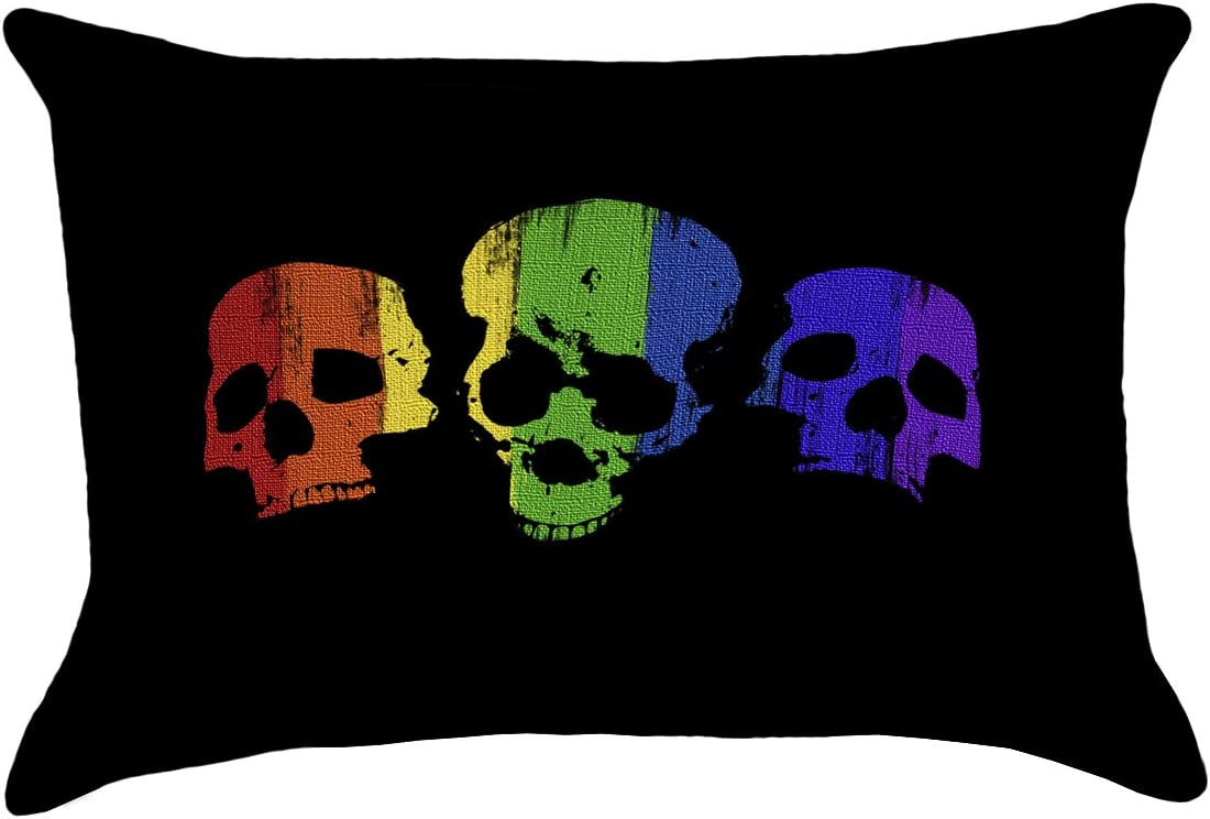 ArtVerse Katelyn Smith 26 x 26 Cotton Twill Double Sided Print with Concealed Zipper /& Insert Purple /& Black Skull Pillow