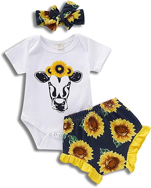 Newborn Infant Baby Girls Romper shirt+Sunflower Shorts 2PCS Outfits Clothes Set