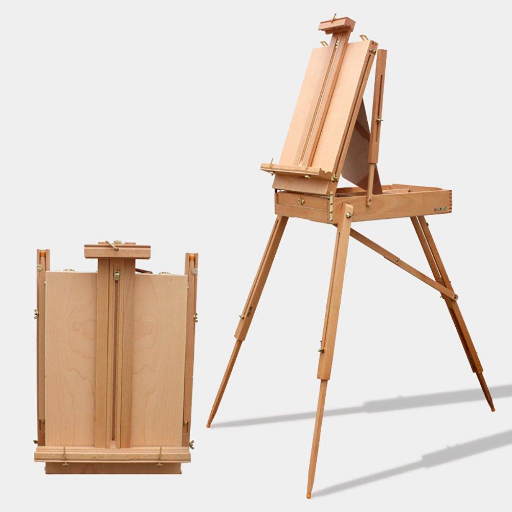 LXLA- Massivholz Ölgemälde Staffelei Tragbare Skizzieren Box Stativ Studio Farbe Stehen Für Innen Und Außen 56 × 41 × 11,5 cm