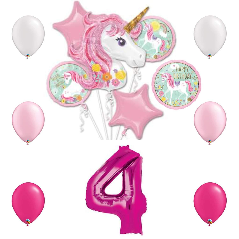 マジカルユニコーン 誕生日パーティーバルーンバンドル 4歳用 バルーン13個付き   B07MY7MPCD