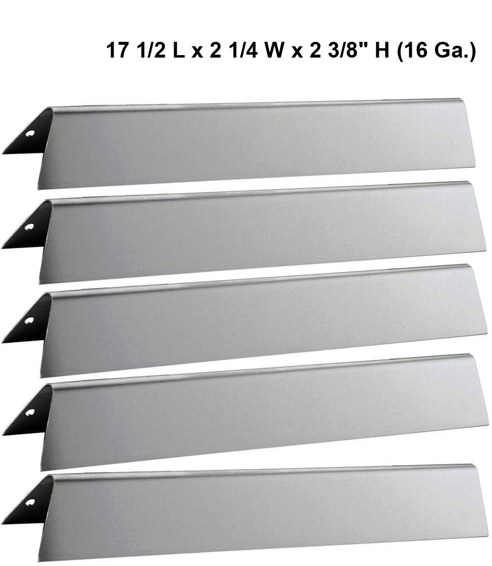 17 1/2'' L Stainless Steel Heat Plates 7620 (5-Pack) For Weber Genesis 300 series Gas Grills (Front-mounted Control Panel), Dims: 17 1/2 x 2 1/4 x 2 3/8'' H (16 Ga.) by Grill Valueparts (Image #1)