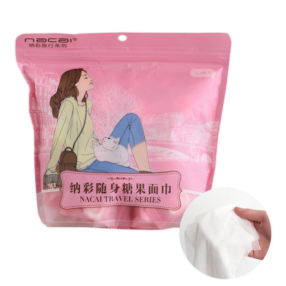 Aolvo Toallas Comprimidas para Viajes, 50 Pcs Desechable Comprimido Algodón Puroo Paño de Limpieza Facial Tissue Tablet Paño Portátil para Vocación Viaje Camping Senderismo (Tamaño Ampliado 8 X 8.7)