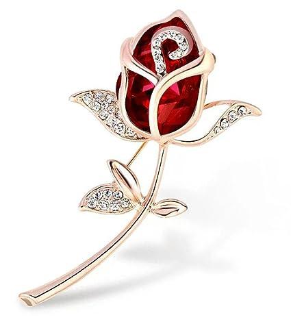 meilleur site web 1a9df ae2e6 WayOuter Broche Fantaisies Fleur Rose Crystal Bijoux pour Femme Vêtement  Broches Accessoires (Rouge)