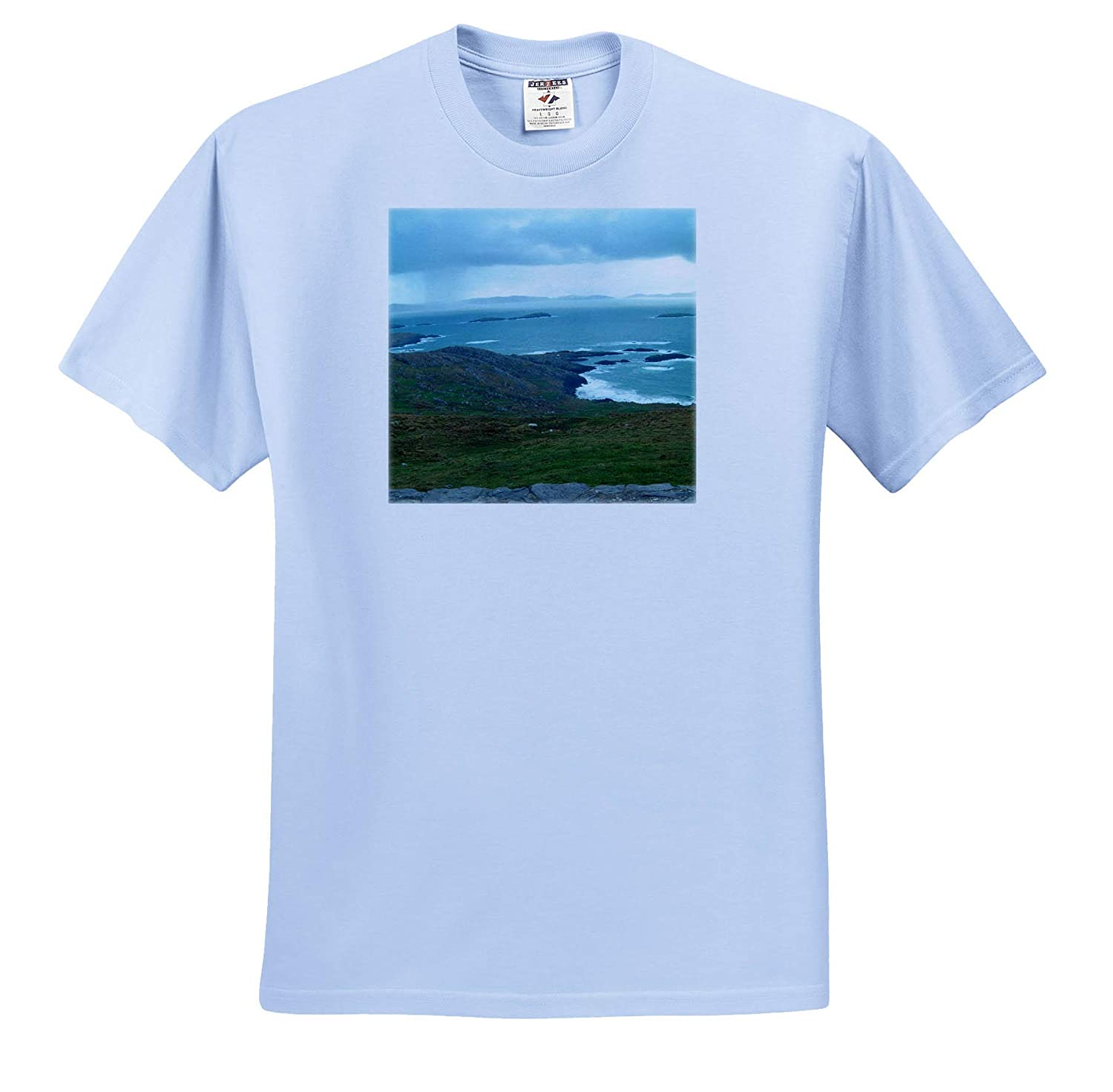3dRose Jos Fauxtographee T-Shirts Beautiful Scenery in Ireland with Green Grass and Blue Water Ireland Wetland