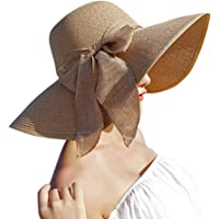 Ocamo Women's Travelling Seaside Sunscreen Sunbonnet Foldable Wide Brim Beach Straw Hat with Bowknot (Khaki)