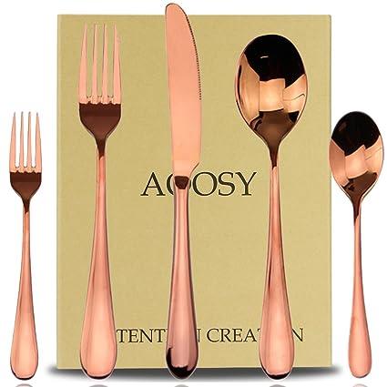 AOOSY Rose Oro Cubertería Set, 5 Piezas 18/10 de Acero Inoxidable Cubiertos Conjunto