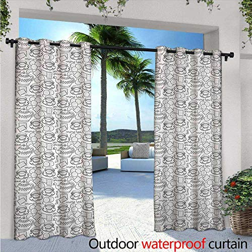 BlountDecor Tea Party Balcony Curtains Doodle Drawing Monochrome Tableware Pattern with Biscuits and More Tea Quote Outdoor Patio Curtains Waterproof with Grommets W108 x L84 Grey White