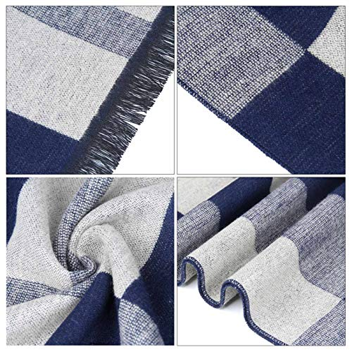 Men Cashmere Plaid Knitted Scarf Soft Warm Cashmere Feel Neckwear Men Business Fine Scarves Blue & Gray by Panegy (Image #8)