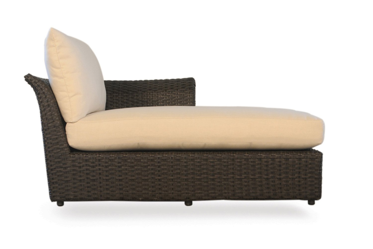 Lloyd Flanders Flair Left Arm Chaise - Espresso Vinyl & Windward Stripe Multi fabric