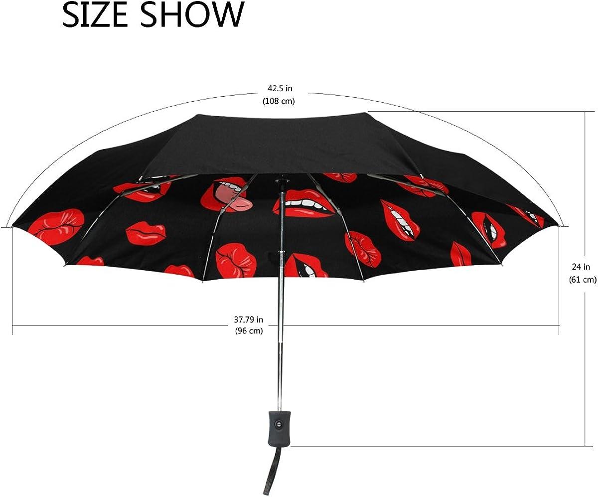 My Daily Red Lips Travel Umbrella Auto Open Close UV Protection Windproof Lightweight Umbrella