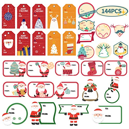 KIDPAR 144 PCS Christmas Gift Tags Self-Adhesive Stickers for Festival Presents, Wrapping Paper and Gift Bags Holiday Decorative Labels Decals (Lables Christmas)