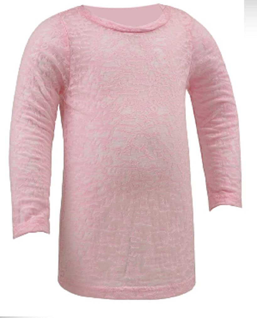 Kavio Little Girls Long Sleeve Lightweight Burnout Tee with Longer Length in Sizes 6M to 6X