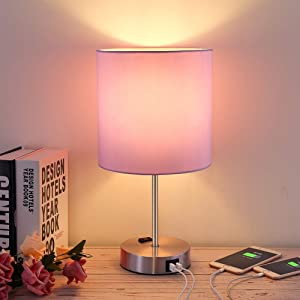 Touch Control Table Lamp, 3 Way Dimmable Bedside Lamp Nightstand Lamp with Dual USB Ports and AC Outlet, LED Desk Lamp Reading Lamp Modern Lamp for Bedroom Living Room Office, E26 Bulb Included