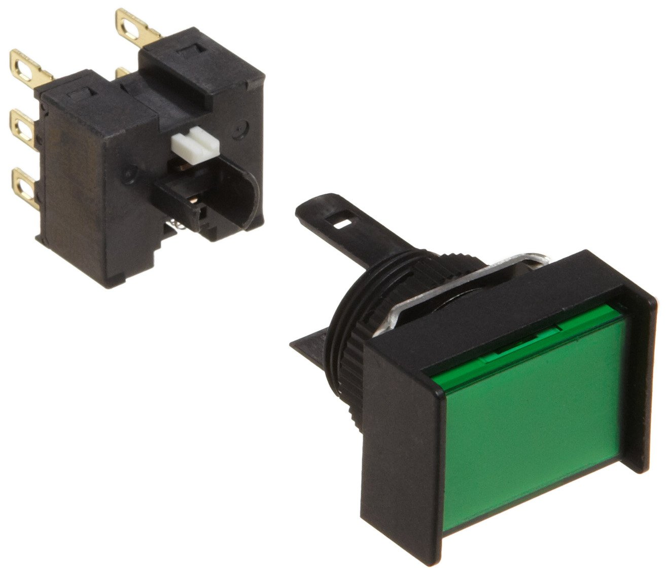 Omron A165-JGA-2 Two Way Guard Type Pushbutton and Switch, Solder Terminal, IP65 Oil Resistant, 16mm Mounting Aperture, Non-Lighted, Alternate Operation, Rectangular, Green, Double Pole Double Throw Contacts