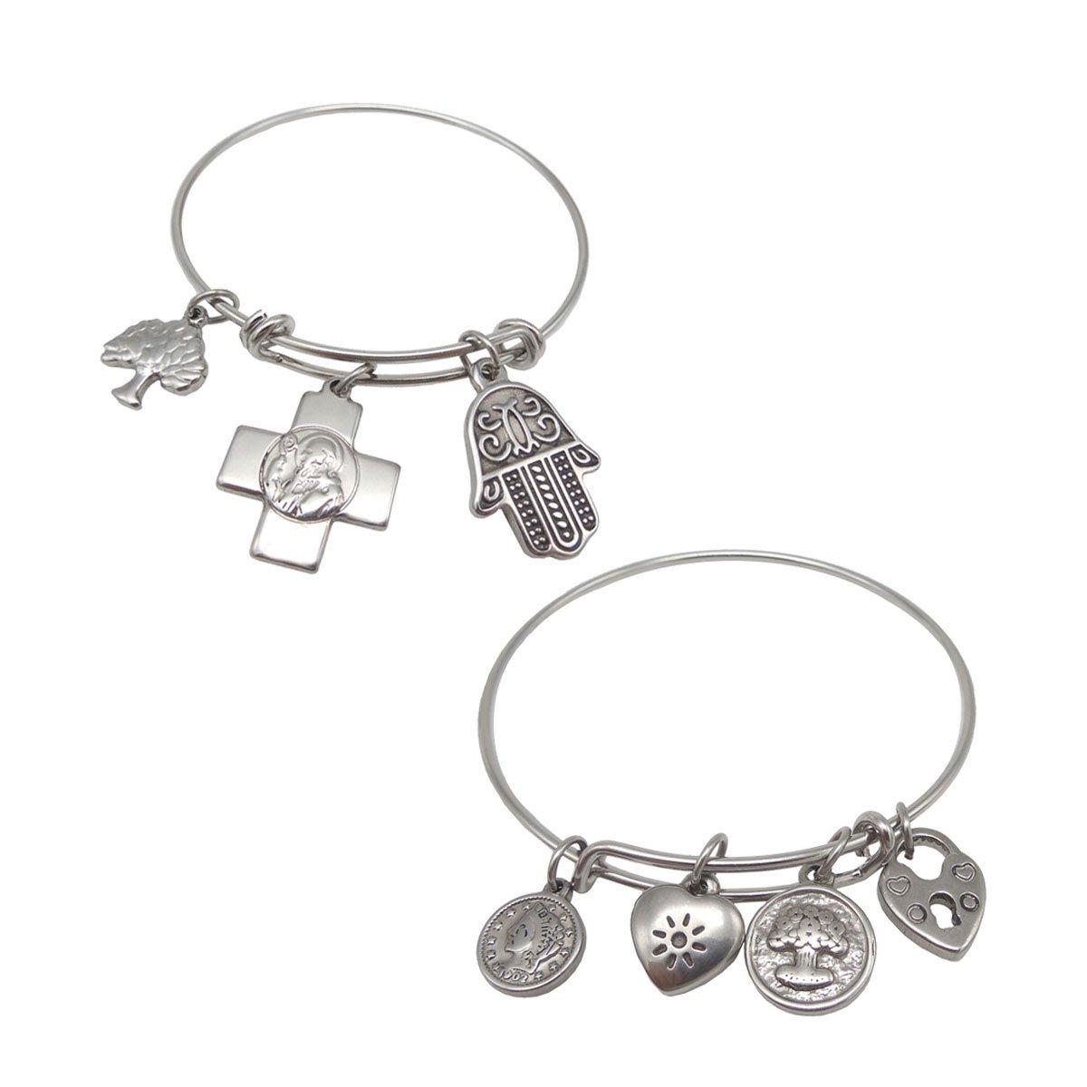 NewStar Girls Religious Bracelet Women Bangle Expandable Wire Bracelets DIY Jewelry Gifts Set - 2 Pack