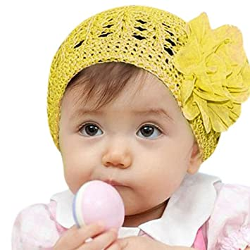 a58fa706d6a5 Fullkang Flower Toddlers Infant Baby Girl Lace Hair Band Headband Headwear  Hat (Yellow)