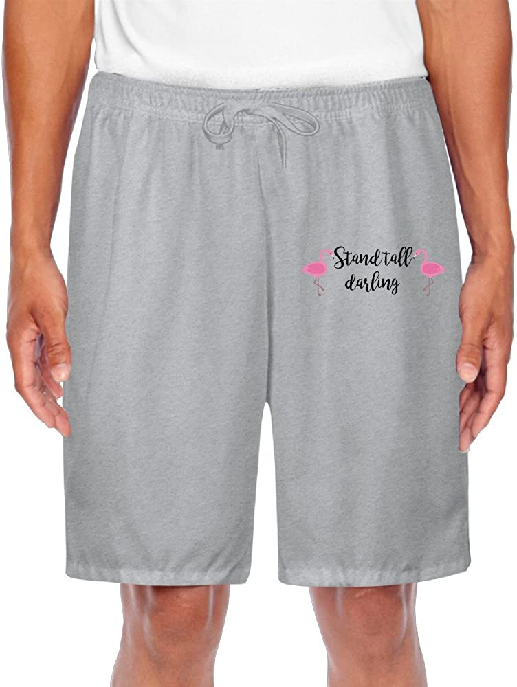 Mens Flamingo Stand Tall Darling Cool Shorts Sweatpants Casual Shorts For Sporting Home Casual Time