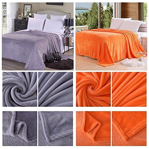 Warm Solid Flannel Blanket Super Soft Micro Plush Pure Color Rug Sofa Bedding (100140cm)