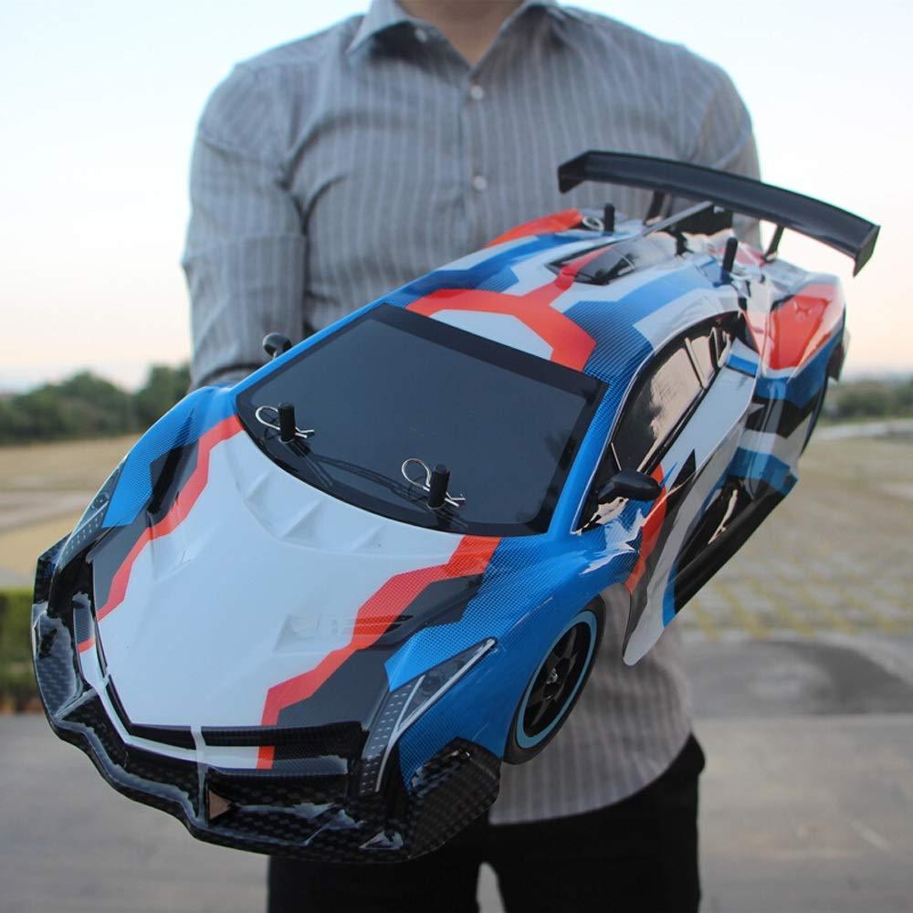 Kikioo 4WD 2,4 GHz Hochgeschwindigkeits-RC-Funkferngesteuerter Rennwagen Elektro-All-Terrain-Monster-Truck-Dasher-Fahrzeug mit Blinklicht Elektronische Sport-Renn-Stunt-Car-Geschenke für Kinder Erwach Lamborghini