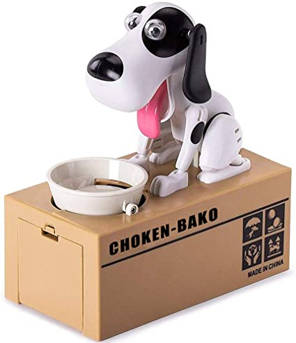 Babook Electric Piggy Bank Robotic Dog Coin Munching Toy Money Box Great Birthday for Young Kids.