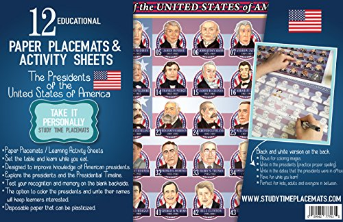 Amazon.com: 12 Educational Paper Placemats and The Presidents of ...