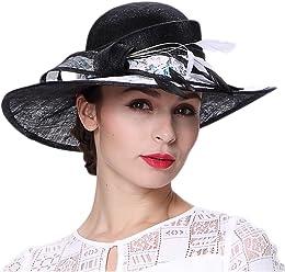 4eb4508b Koola's hats Kentucky Derby Hat for Women Black 3 Layers Sinamay Wedding  Hats