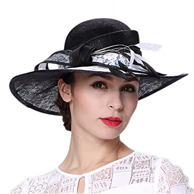Koola s hats Kentucky Derby Hat Women Black 3 Layers Sinamay Wedding Church  Hats 778ed333f4dd