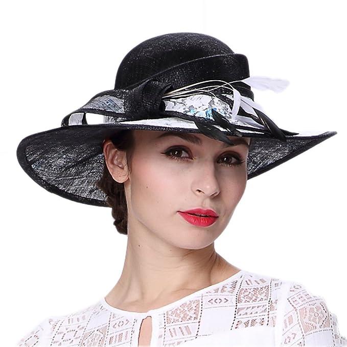 Koola s hats Sombrero Negro para el Sol con Ala Ancha Sombreros de la  Iglesia Sombrero de f0f6a6047b0