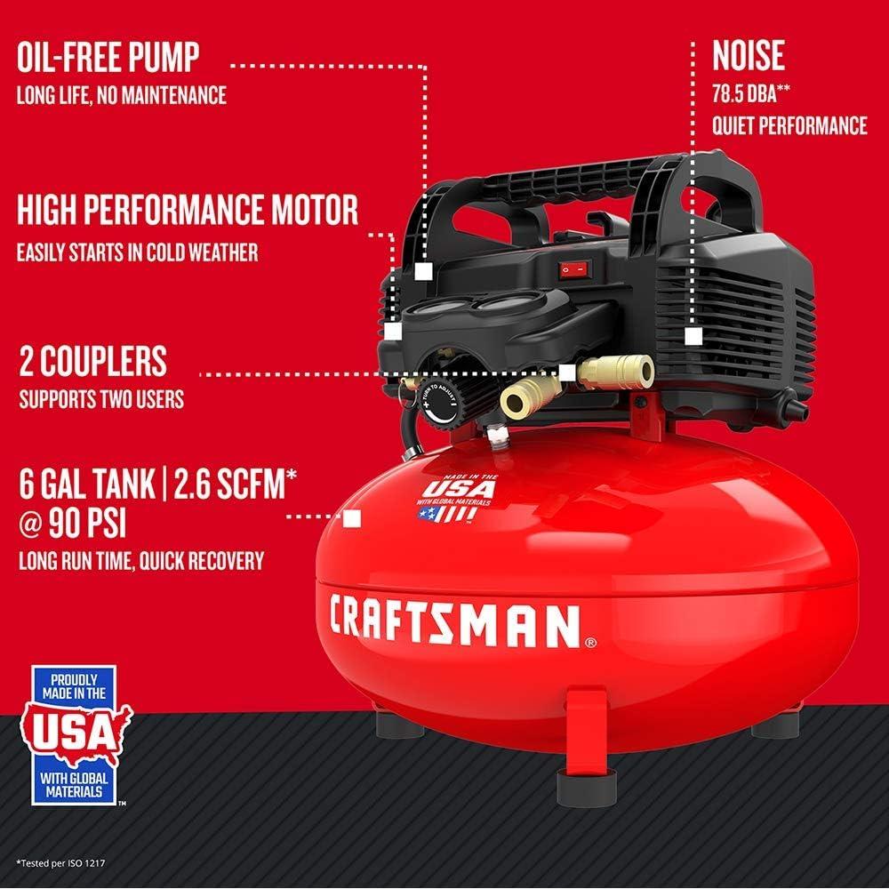6 gallons CRAFTSMAN Air Compressor CMEC6150K Renewed