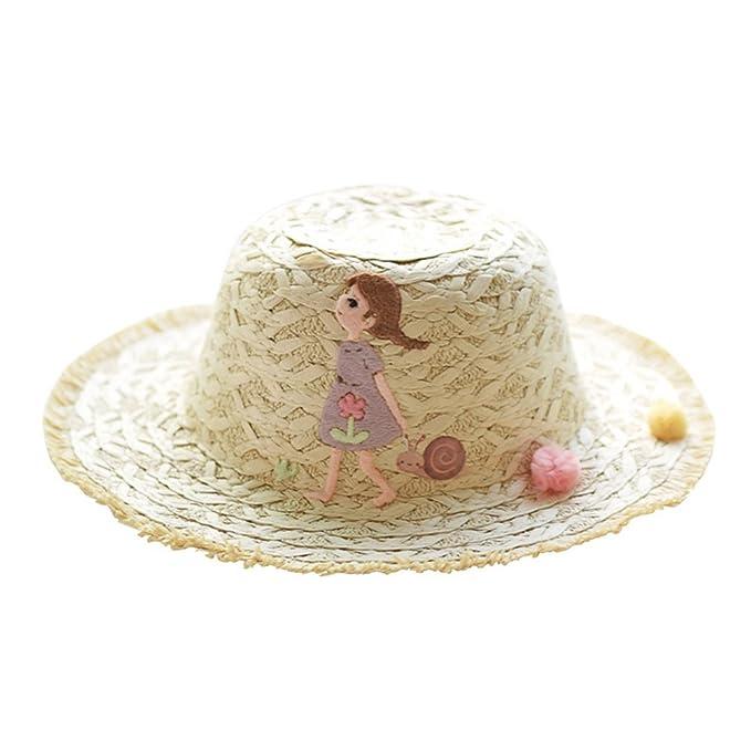 Pueri Sombreros de Sol para Niñas de Verano Gorras de Mimbre con Decoración de Dibujo Animado para Playa Sombrero con Viseras Grandes: Amazon.es: Ropa y ...