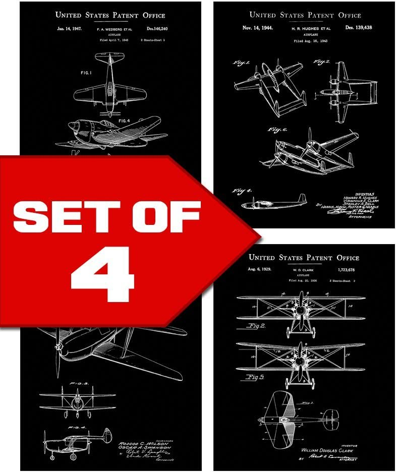 Black Vintage Airplane Patents Set! Four 8x10 Aviation Themed Mens Wall Decor Art Prints. Great for Office, Home, Living Room, Bachelor Pad or Barbershop Decoration! Designed exclusively for Wallables