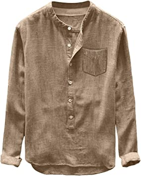 Sunnyuk Camisa Casual Hombre Color Sólido Lino y algodón Manga ...