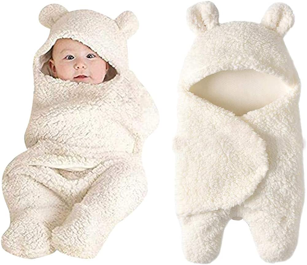 Newborn Baby Cartoon Bear Snowsuit Winter Coat Fleece Hooded Romper Jumpsuit