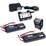 Wwman 2pcs 7.4V 3000mAh upgrade Battery and 1to2 charger with explosion-proof bags for Bugs 3 mjx B3 Force1 F100 Contixo F17 RC quadcopter drone spare parts