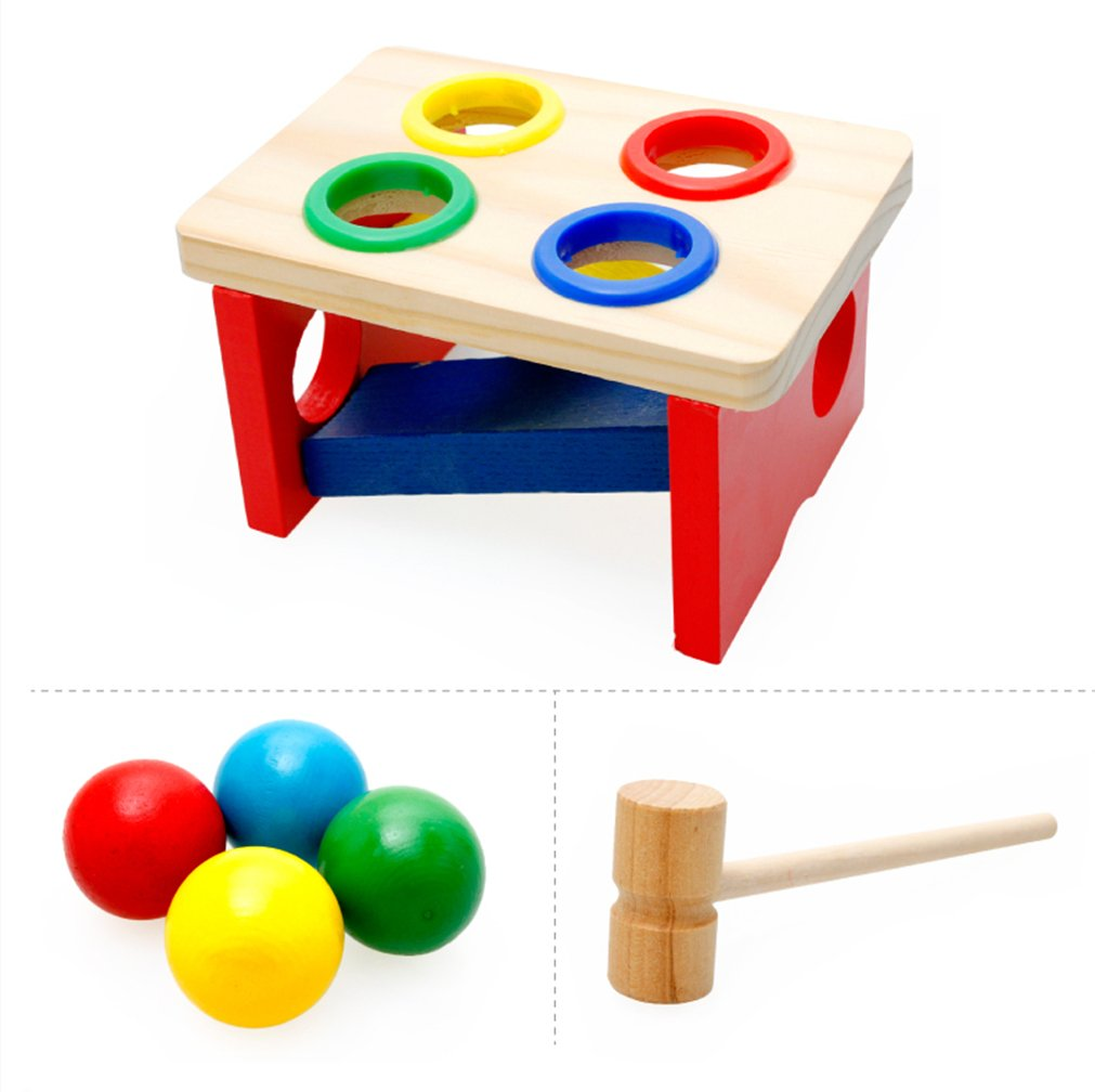 VolksRose Wooden Pounding Bench - Pound & Tap Pounder Bench Slide with Balls and Hammer for Child 2 Year and Up - Perfect Christmas Gift for Your Kids