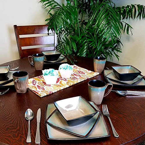 Gibson Elite 101859.16RM Tequesta 16-Piece Square Dinnerware Set, Taupe by Gibson Elite (Image #6)