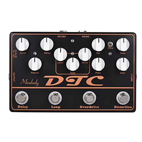 ammoon DTC Pedal de efectos de guitarra eléctrica 4-en-1 Distorsión + Sobremarcha