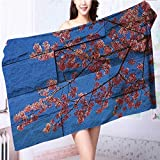 Miki Da Soft Luxury Towel Rustic Thai Sakura Blossom Mural Branch with Print Pink Blue for Home, Hotel and Spa L63 x W31.2 INCH