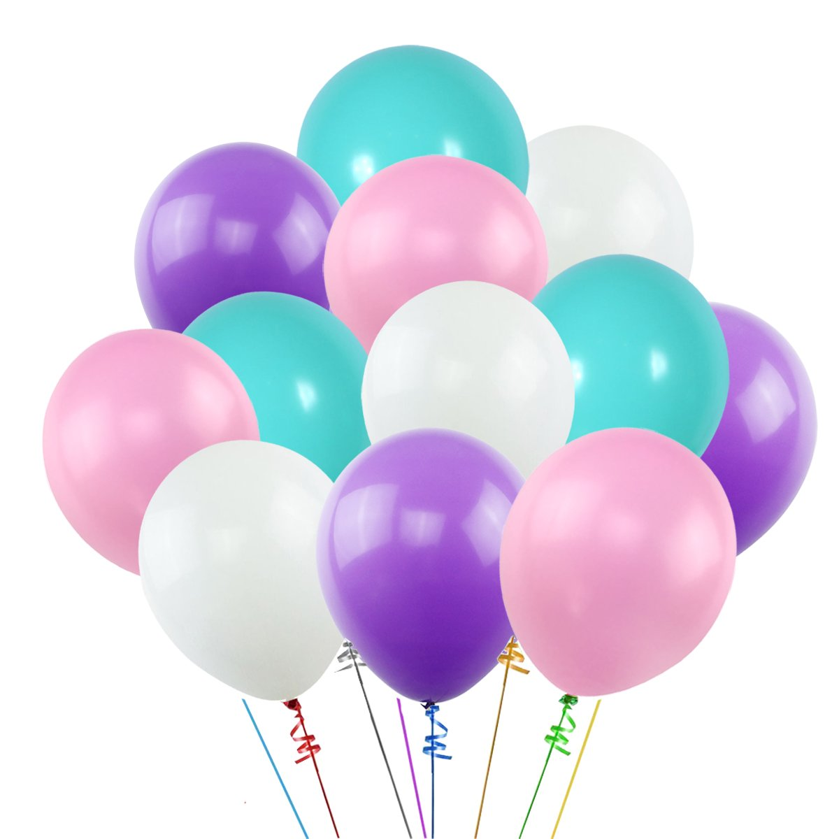 k KUMEED 12 Inch Balloons White Purple Pink Blue Assorted Latex Balloons for Birthday decorations Baby Shower Party Supplies (100 Pcs)