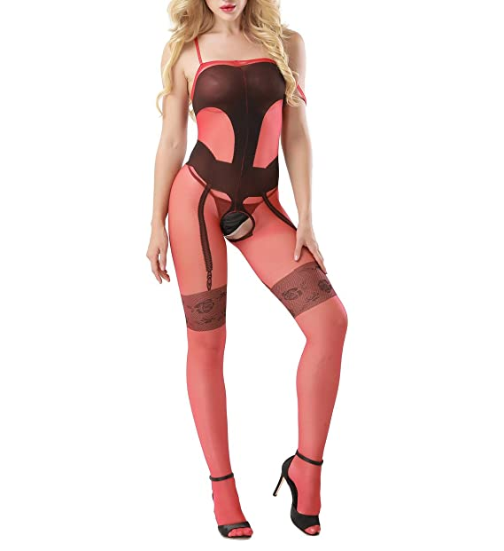 3645aec19ed Image Unavailable. Image not available for. Color  Zerolove Womens  Crotchless Bodystocking Sexy Plus Size Sheer Open Crotch ...