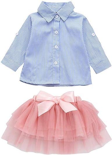 PinkLu Niña Conjuntos Manga Larga Estampado de Rayas Camisa Capa Tutu Arco Falda Corta niña Vestido Falda Traje: Amazon.es: Ropa y accesorios