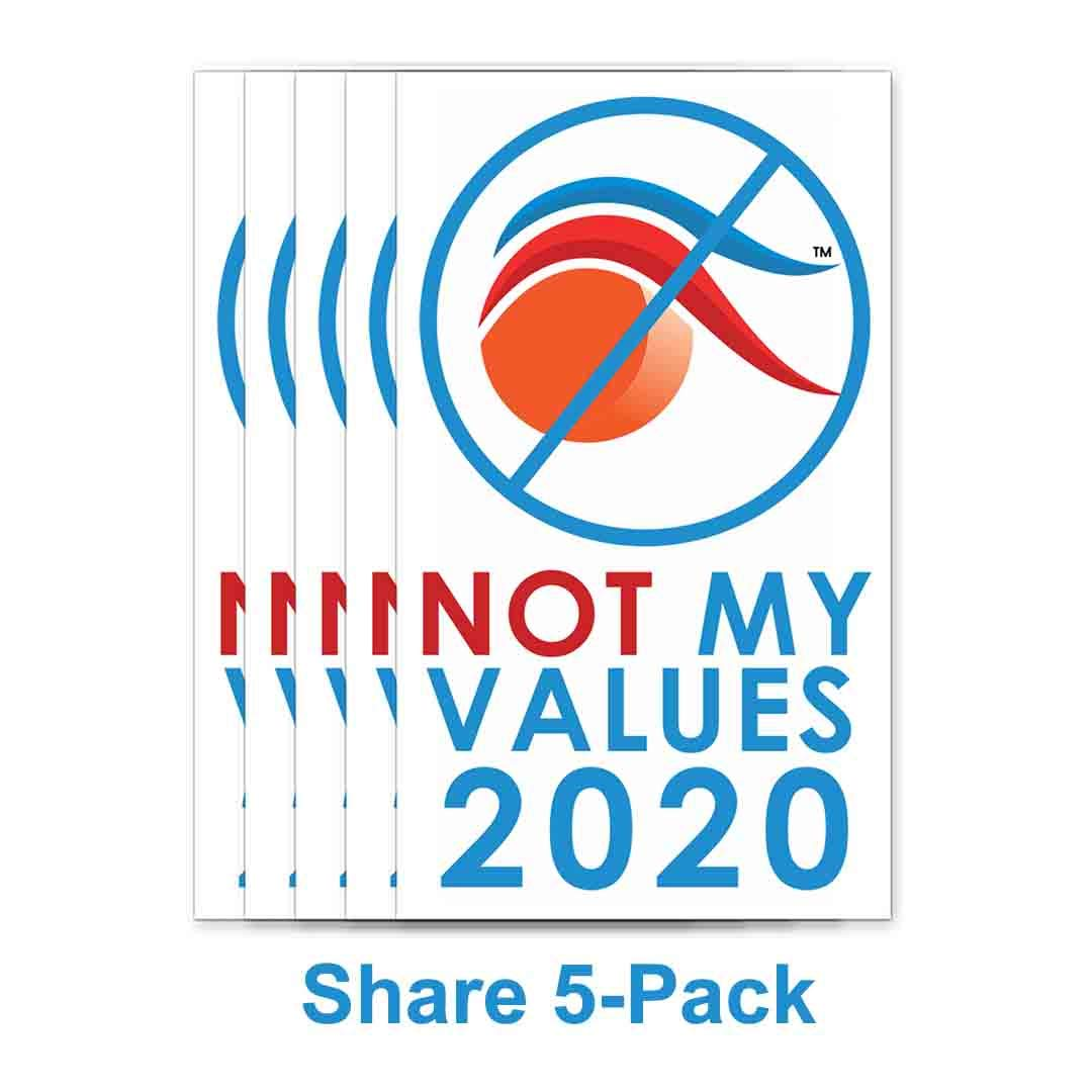Not My Values 2020 Removable Window /& Bumper Stickers 5